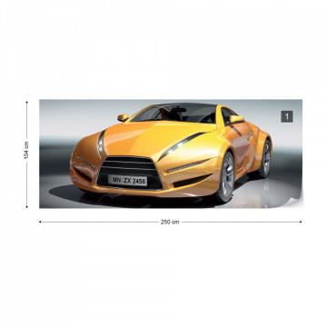 Yellow Racing Car Photo Wallpaper Wall Mural