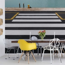Zebra Crossing To The Sea Photo Wallpaper Mural