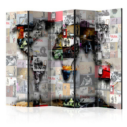 Paravan - Room divider – World map – Banksy