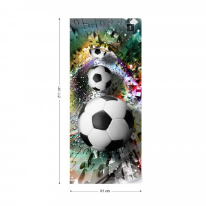 3D Footballs Puzzle Tunnel Multicoloured Photo Wallpaper Wall Mural