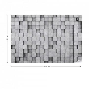 3D Grey Concrete Cubes Modern Texture Photo Wallpaper Wall Mural
