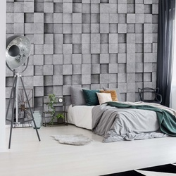 3D Grey Concrete Cubes Modern Texture Photo Wallpaper Wall Mural