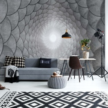 3D Grey Spiral Photo Wallpaper Wall Mural