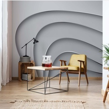 3D Layers Monochrome Photo Wallpaper Wall Mural