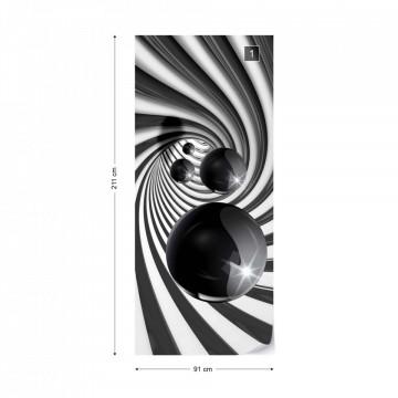 3D Swirl Tunnel Black Balls Photo Wallpaper Wall Mural