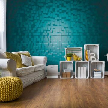 3D Turquoise Modern Pixel Design Photo Wallpaper Wall Mural