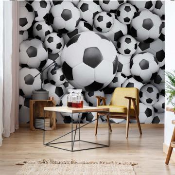 3D Footballs Photo Wallpaper Wall Mural
