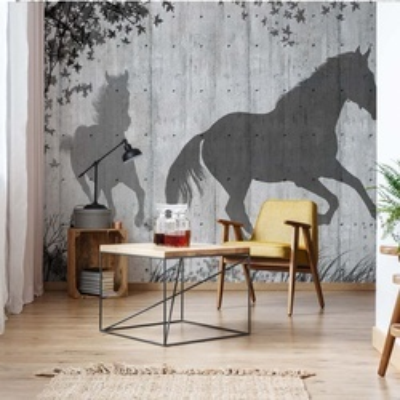 Horses Silhouette Grey Photo Wallpaper Wall Mural