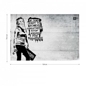 Banksy Graffiti Concrete Texture Photo Wallpaper Wall Mural