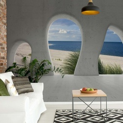 Beach 3D Concrete Arches View Photo Wallpaper Wall Mural