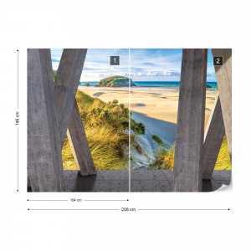 Beach Coastal 3D Modern View Concrete Photo Wallpaper Wall Mural
