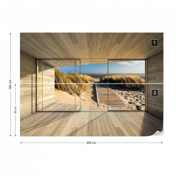 Beach Path 3D Modern Window View Photo Wallpaper Wall Mural