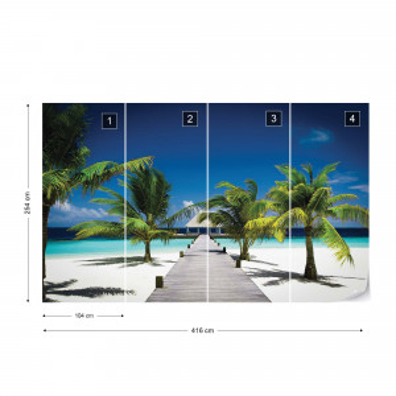 Beach Pier Sea Sand Tropical Palms Photo Wallpaper Wall Mural