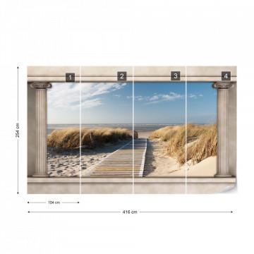 Beach Roman Column View Photo Wallpaper Wall Mural