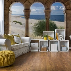 Beach Sand Dunes View Through Stone Arches Photo Wallpaper Wall Mural