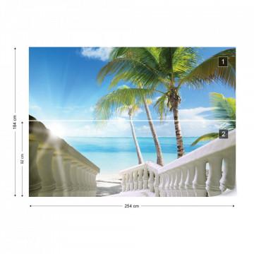 Beach Tropical Sea Palms Photo Wallpaper Wall Mural