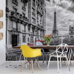 Black And White Red Car Paris Photo Wallpaper Wall Mural