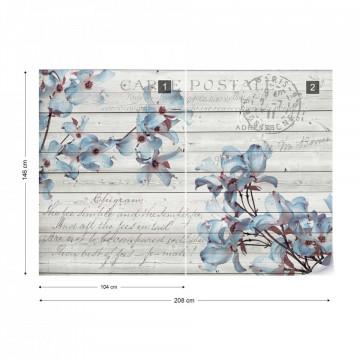 Blue Flowers Wood Plank Texture Vintage Script Farmhouse Chic Photo Wallpaper Wall Mural