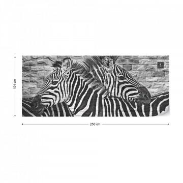 Brick Wall Zebras Photo Wallpaper Wall Mural