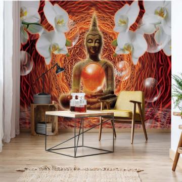 Buddha Zen Spheres 3D Orchids Photo Wallpaper Wall Mural