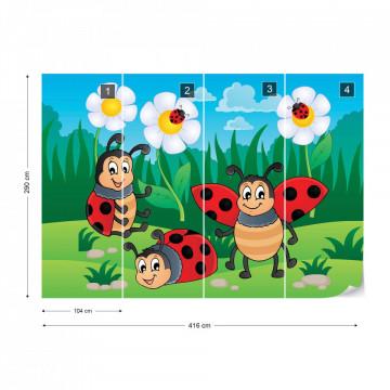 Cartoon Ladybirds Photo Wallpaper Wall Mural