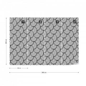 Circles Waves Pattern Black And White Photo Wallpaper Wall Mural