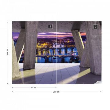 City At Night Prague 3D Modern View Concrete Photo Wallpaper Wall Mural