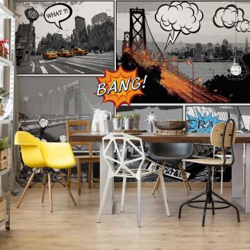 City Comic Style Photo Wallpaper Wall Mural