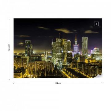 City Skyline Warsaw At Night Photo Wallpaper Wall Mural