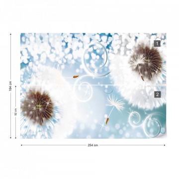 Dandelions Sparkles Blue Photo Wallpaper Wall Mural