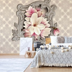 Floral Design Ornamental Frame Photo Wallpaper Wall Mural
