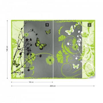 Flowers And Butterflies Modern Design Green Photo Wallpaper Wall Mural