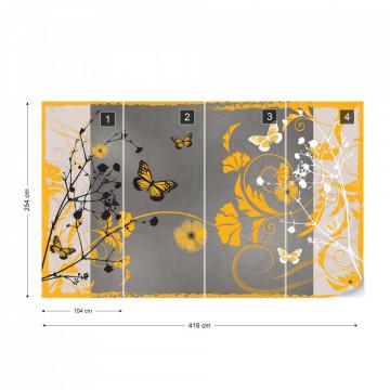 Flowers And Butterflies Modern Design Yellow Photo Wallpaper Wall Mural