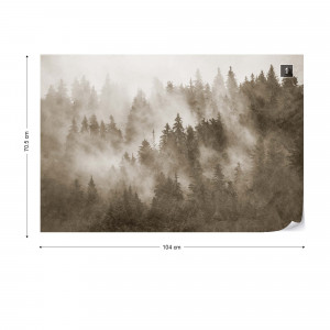 Forest in the Mist Textured in Sepia