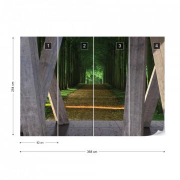 Forest Path 3D Modern View Concrete Photo Wallpaper Wall Mural