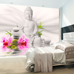 Fototapet - Buddha and Orchids