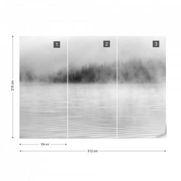 Fototapet- Ceață peste Lac – Alb-Negru
