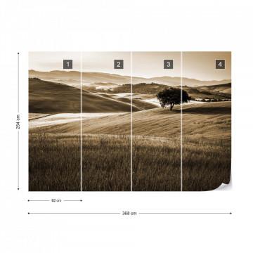 Fototapet - Dealuri Înverzite – Sepia