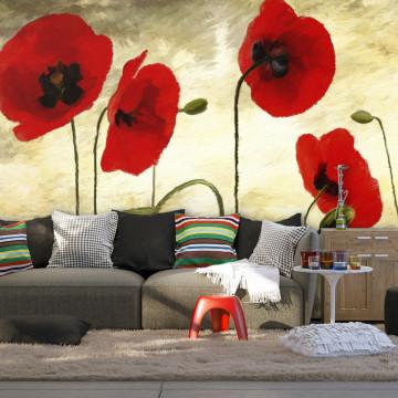 Fototapet - Golden Field of Poppies