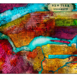 Fototapet - Northern portion of new york city - map