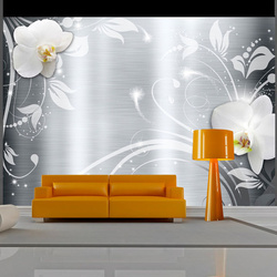 Fototapet - Orchids on steel