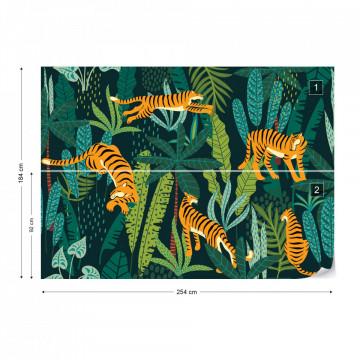 Fototapet - Peisaj Exotic cu Tigri – Aspect Retro