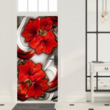 Fototapet pentru ușă - Photo wallpaper - Abstraction and red flowers I