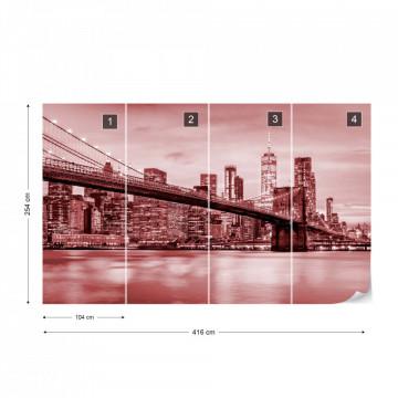 Fototapet - Podul Brooklyn NYC – Roșu