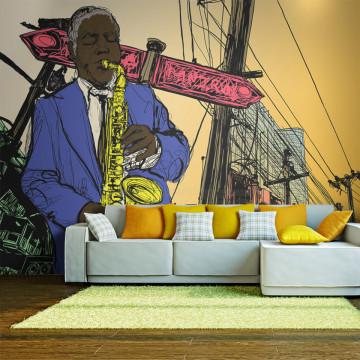 Fototapet - Saxophonist in New York