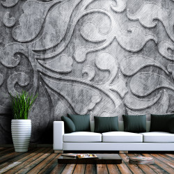 Fototapet - Silver background with floral pattern
