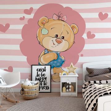 Fototapet - Ursulețul Claudia – Inimioare Roz