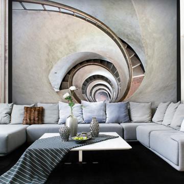 Fototapet - White spiral stairs