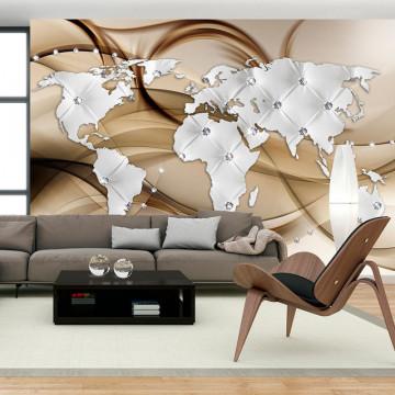 Fototapet - World Map - White & Diamonds