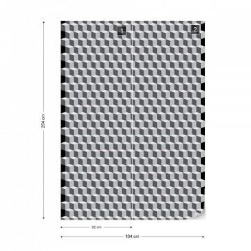 Geometric Design White And Grey Photo Wallpaper Wall Mural